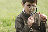 Boy studying ladybug with magnifying glass
