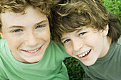 Two boys, portrait, high angle view
