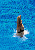 Male swimmer diving into pool, overhead view