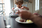 Toddler boy eating meal with parent