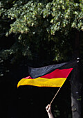 Detail of a person waving a German flag