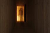A person walking through a corridor, blurred motion