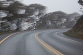 Blurred motion of empty road
