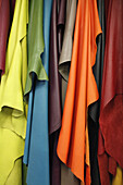 Close-up of various colors of leather textiles