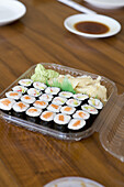 Sushi in lunch box, close-up