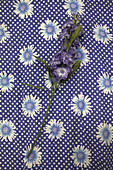 Purple flowers on floral fabric