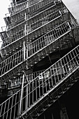 Fire escape steps on rear of building in Manhattan, New York, USA
