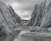 Canal walls of Valdez Glacier, Alaska, USA
