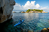 Sea kayak tour with catamaran as basecamp on the Seychelles, Indian Ocean
