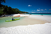 Sandy beach on the Seychelles, Sea kayak tour with catamaran as basecamp on the Seychelles, Indian Ocean