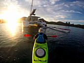 Sea kayak tour with catamarans as basecamp on the Seychelles, Indian Ocean
