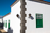 Green windows, Yaiza, Lanzarote, Canary Islands, Spain