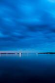 Stein near Laboe at dusk, Kiel fjord, Baltic sea, Friedrichsort, Kiel, Schleswig-Holstein, Germany