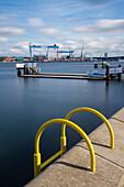 Wharf, Kiellinie, Howaldtswerke-Deutsche Werft (HDW), Kiel fjord, Kiel, Schleswig-Holstein, Germany