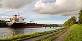 Tanker on the Kiel canal, Levensauer Bridge, Kiel, Rendsburg-Eckernfoerde, Schleswig-Holstein, Germany