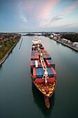 Ship on the Kiel Canal, Holtenau locks, Kiel, Schleswig-Holstein, Germany