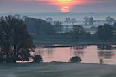 Sunrise at the river Oder, Lebus north of Frankfurt/Oder, Brandenburg, Germany