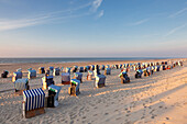 Beach chairs on the beach, Nordstrand, Norderney, Ostfriesland, Lower Saxony, Germany