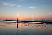 Beach at sunset, Nordstrand, Norderney, Ostfriesland, Lower Saxony, Germany