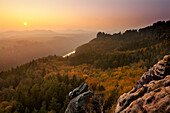 View to the Elbe river and Schrammsteine, National Park Saxon Switzerland, Elbe Sandstone Mountains, Saxony, Germany