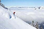 Free rider downhill skiing, free ride skiing area Haldigrat, Niederrickenbach, Oberdorf, Canton of Nidwalden, Switzerland