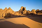 Rock formations in the libyan desert, Wadi Awis, Akakus mountains, Libya, Africa