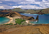 Bartolome Island with Pinacle Rock and James Island in the Background, Galapagos Islands, Ecuador, South America