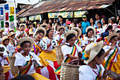 Folklore Dancers in the historical city of Vigan City, UNESCO World Heritage Site, Ilocos Sur province, on the main island Luzon, Philippines, Asia