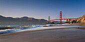 Baker Beach with view of the Golden Gate Bridge, San Francisco, Pacific Coast Highway, Highway 1, West Coast, Pacific, California, USA