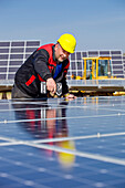 Construction work at the solar park at Peterswald, construction worker with helmet, Neuental, Hesse, Germany, Europe
