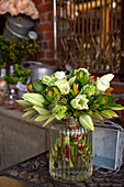 Modern green and white bouquet in a glass vase, Napier, Hawke's Bay, North Island, New Zealand