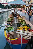 one of the last remaining floating vegetable boats, traditonal fishing boat, bragozzo, Diana und Fabio Caregnato, Dorsoduro, Venice, Italy