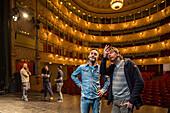 preparing stage, interior of Goldoni Theatre, Venice, Italy