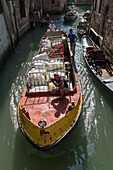 transport barges delivery boats, water transport, hotel laundry, Venice, Italy