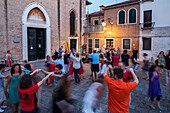 Venetian folk dance, Campo della Bragora, Castello, neighbourhood, locals, Venice, Italy