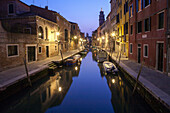 twilight, view from bridge, down the canal, Fondamenta della Squero, reflections, evening, tranquil, quiet, empty, Venice, Italy