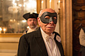 carnival, masked guest, gentleman, Palazzo Zeno ai Frari, piano nobile, noble floor, private masked ball, Venice, Italy