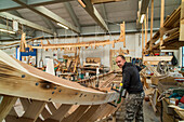 Michael Vidal, gondola boat builder, dry dock, maintenance, modern construction, Certosa Island, Venice, Veneto, Italy