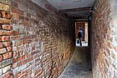 narrow underpass, alley, below house, sotoportego, brick walls, pedestrian tunnel, historic, traditional, Venice, Italy