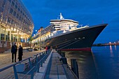 Queen Mary 2 at Hamburg Harbour, Germany.