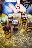 Table with tea cups, Morocco, Africa