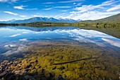 Pyramid Lake and the Canadian Rocky Mountains in the Jasper National Park, Alberta, Canada