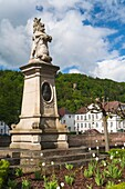 Picturesque houses and memorial in Bad Karlshafen, which was founded by the French Huguenots, Hesse, Germany, Europe