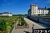 France, Indre et Loire, Loire Valley on the World Heritage list of UNESCO, castle and gardens of Villandry, built in XVI century, in Renaissance style.