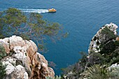 Tourist boat along the coast, Calp, Alicante, Spain