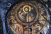 Greece, Chalkidiki, Mount Athos peninsula, listed as World Heritage, Vatopedi monastery, The Katholikon (church), Cupola of Christ Pantocrator.