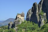 Greece, Thessaly, Meteora, World Heritage Site, Agios Nikolaos Anapafsas (St Nicholas Anapausas) monastery.