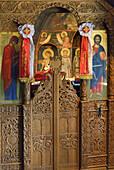 Greece, Thessaly, Meteora, World Heritage Site, Agios Nikolaos Anapafsas (St Nicholas Anapausas) monastery, The Katholikon (church).