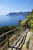 The First Sight on Vernazza on the Cinque Terre Coast Path from Corngilia Vernazza Cinque Terre Liguria Italy.