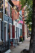 Town houses in historic Old Town, Alexandria, Virginia, USA.